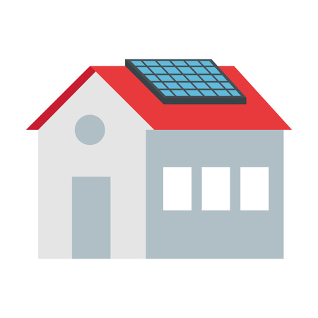 house with solar panel energy ecology vector illustration design