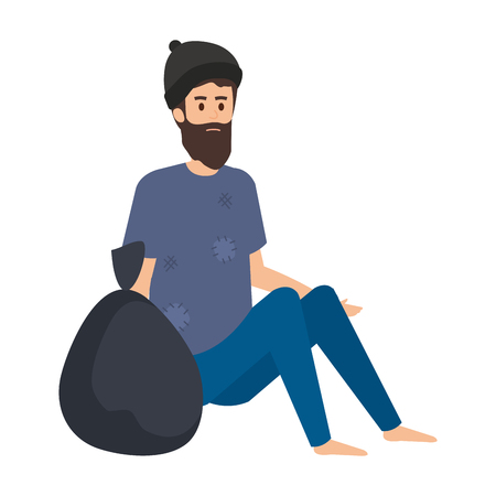 homeless man with bag character vector illustration design