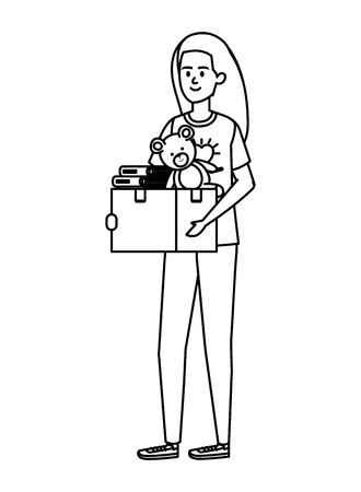 young woman volunteer lifting donations box vector illustration design Vetores