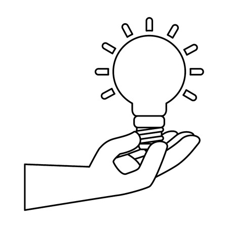 hand with saver bulb energy icon vector illustration design Illustration