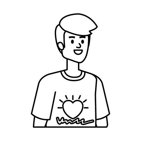 young man volunteer character vector illustration design Illustration