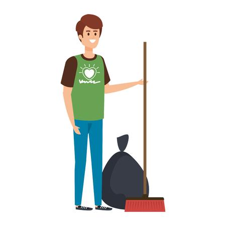 young man volunteer character vector illustration design Stock Illustratie