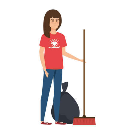 young woman volunteer with garbage bag with broom vector illustration design Vetores