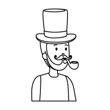 gentleman with elegant hat and pipe wooden vector illustration design