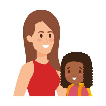 Jeune mère avec petite fille vector illustration design