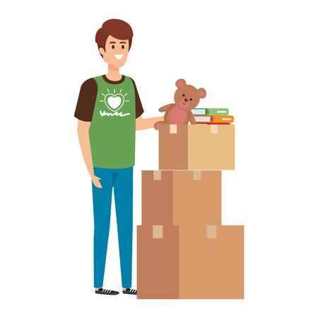 young man volunteer with donations boxes vector illustration design Ilustração