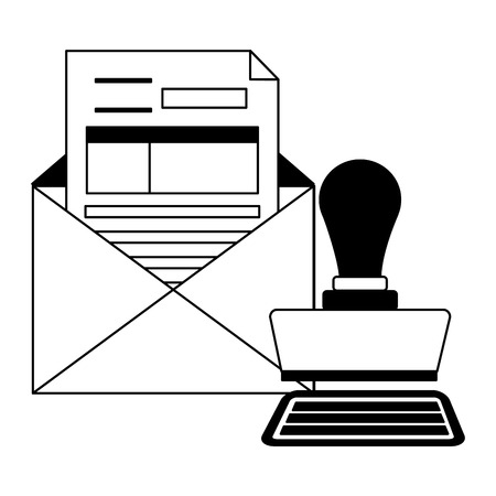 tax payment document invoice paid stamp mail vector illustration