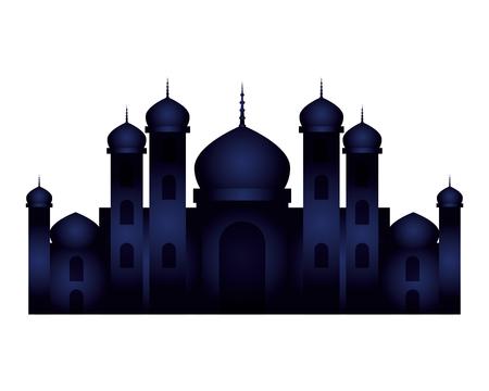 Ramadán Kareem Castle escena nocturna, diseño de ilustraciones vectoriales