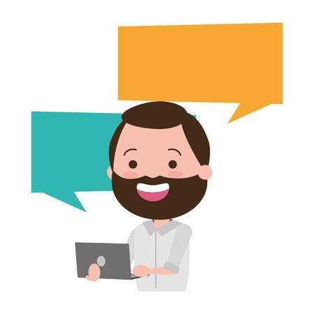 Hombre con diseño de ilustración de vector de personaje de avatar de computadora portátil Ilustración de vector