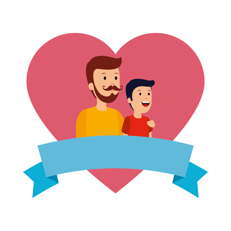 young father with son in heart love vector illustration design