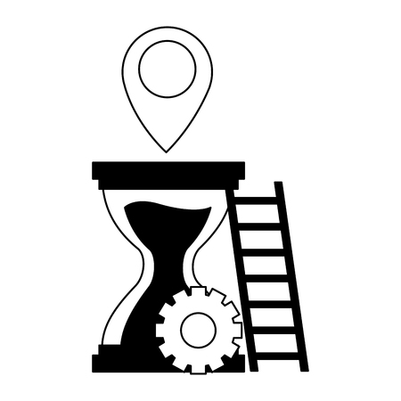 work hourglass gears stairs pointer vector illustration Foto de archivo - 123554066