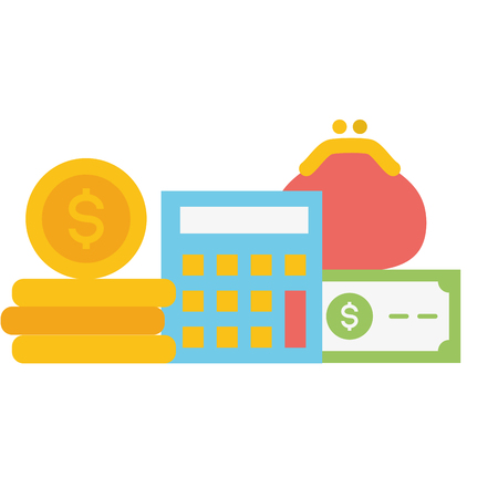 calculator purse money currency online payment vector illustration Stockfoto - 123554084