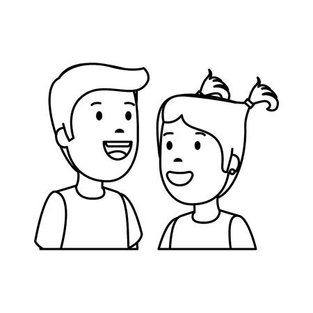 little kids couple characters vector illustration design Foto de archivo - 123554099
