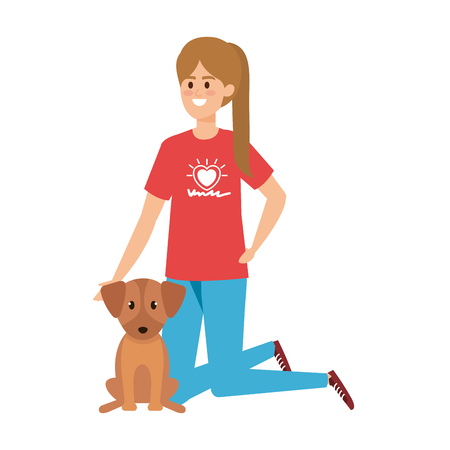 young woman volunteer with cute dog vector illustration design Stock Illustratie
