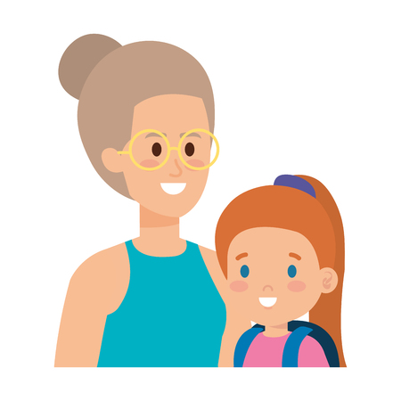 young mother with little daughter vector illustration design Standard-Bild - 123475824