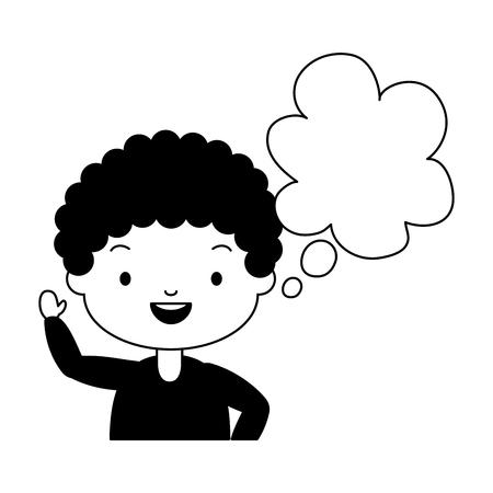 school boy speech bubble white background vector illustration