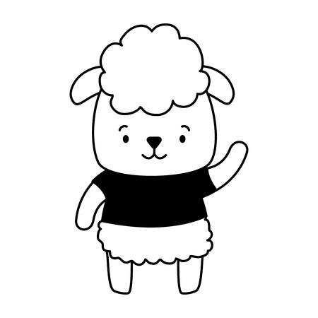 cute sheep animal cartoon vector illustration design Illusztráció