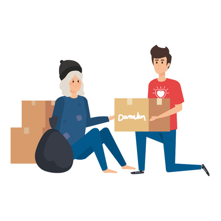 man volunteer giving a homeless woman donations box vector illustration design  イラスト・ベクター素材