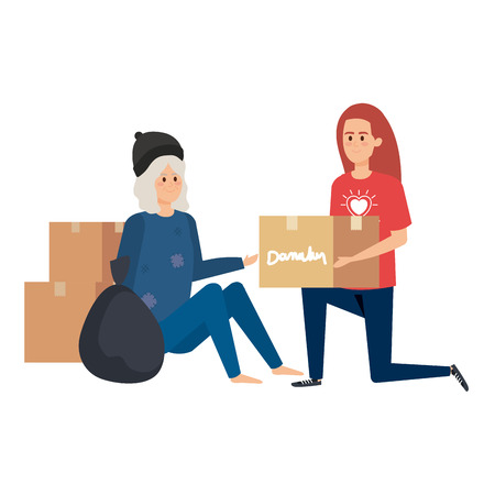 woman volunteer giving a homeless woman donations box vector illustration design Banque d'images - 123475857