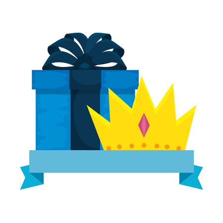king crown with giftbox vector illustration design Illustration