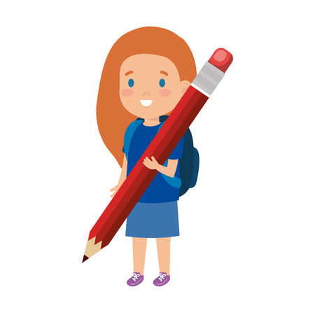 little girl student with pencil vector illustration design
