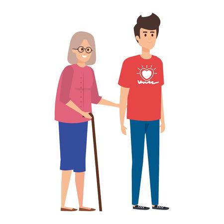 young man volunteer helping a grandmother vector illustration design Vetores