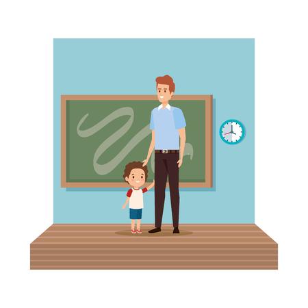 teacher male with schoolboy in classroom vector illustration design 向量圖像