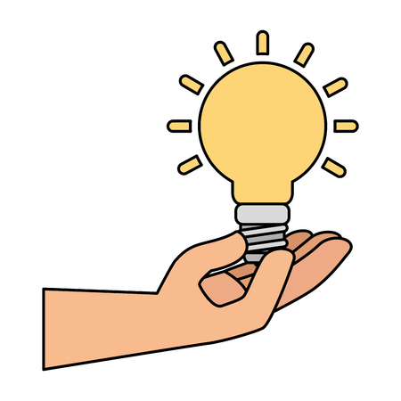 hand with saver bulb energy icon vector illustration design Ilustração