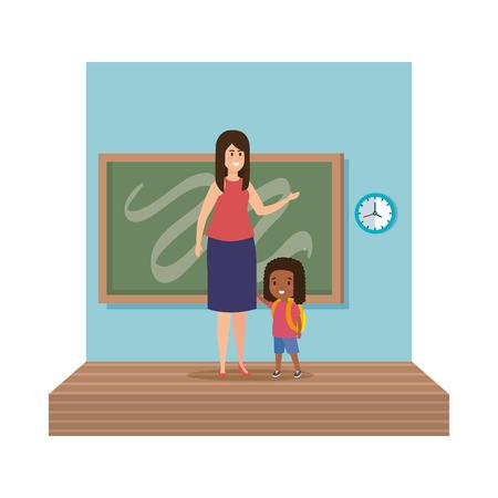 young teacher female with schoolgirl classroom scene vector illustration design Ilustracja