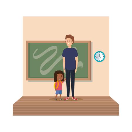 teacher male with schoolgirl in classroom vector illustration design Illustration