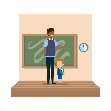 teacher male with schoolboy in classroom vector illustration design 일러스트