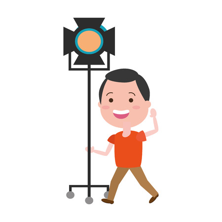 man with movie objects avatar character vector illustration desing 向量圖像