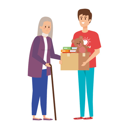 man volunteer giving a old woman donations box vector illustration design