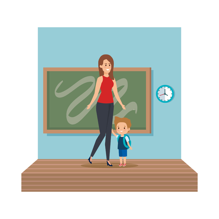young teacher female with schoolboy classroom scene vector illustration design 일러스트