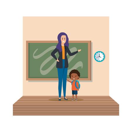 young teacher female with schoolboy classroom scene vector illustration design Ilustração