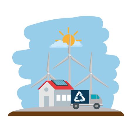 energia wiatrowa na białym tle ikona wektor ilustracja projekt Ilustracje wektorowe