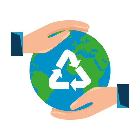 hands protecting earth planet with recycle arrows vector illustration design Иллюстрация