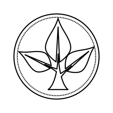 ecology leafs plant circular frame vector illustration design