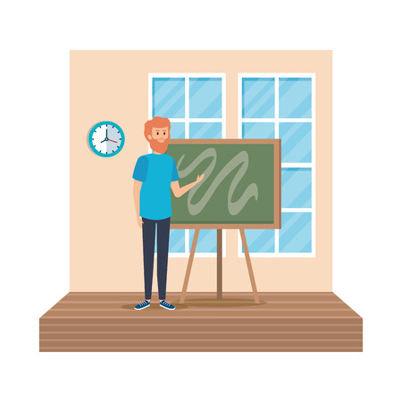 teacher male with chalkboard in classroom vector illustration design