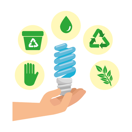 hand with saver bulb and ecology icons vector illustration design Ilustrace