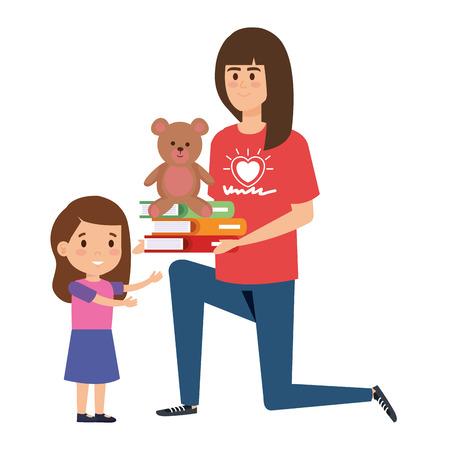 woman volunteer giving a girl books and bear teddy vector illustration design