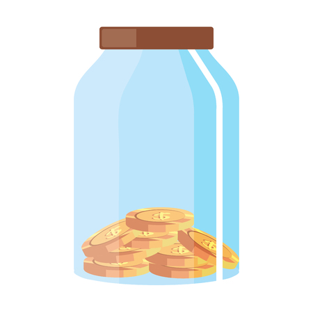 glass pot with coins vector illustration design