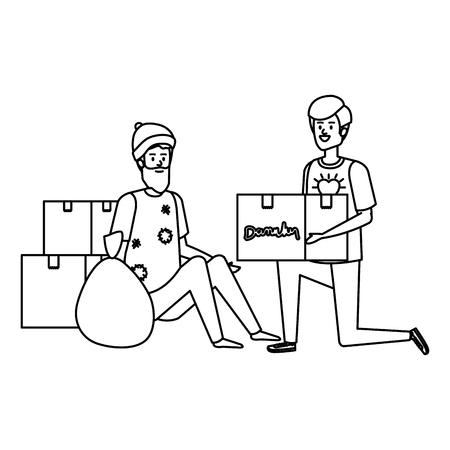 man volunteer giving a homeless man donations box vector illustration design Banque d'images - 123480187