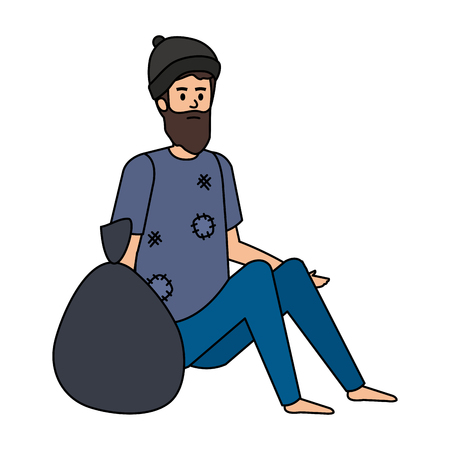 homeless man with bag character vector illustration design Imagens - 123480209