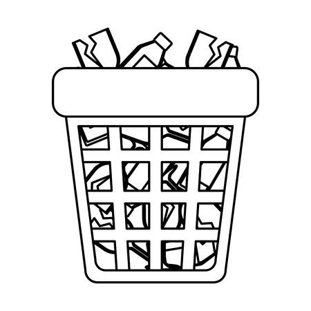 waste bin with bottles glass vector illustration design
