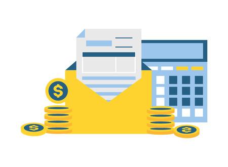 calculator form envelope coins money tax payment  vector illustration Standard-Bild - 121007379