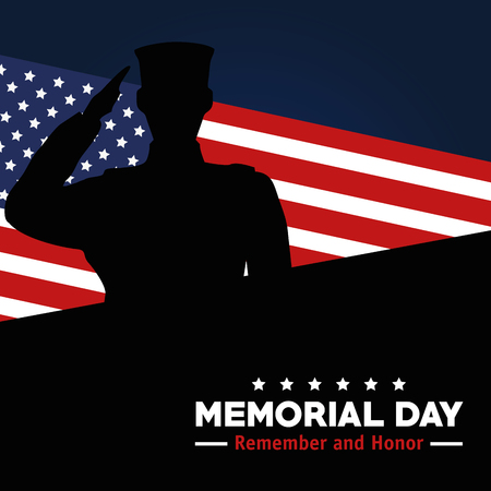 memorial day celebration of soldier with usa flag vector illustration Иллюстрация