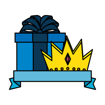 king crown with giftbox vector illustration design Иллюстрация