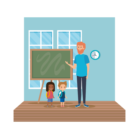 teacher male with school kids in classroom vector illustration design