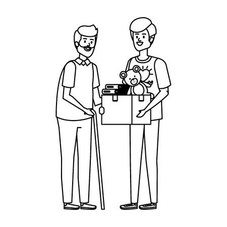 man volunteer giving a old man donations box vector illustration design